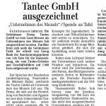 Tantec GmbH ausgezeichnet